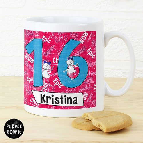 Personalised Purple Ronnie Big Age Female Mug